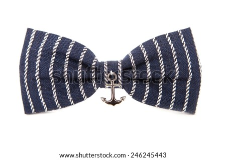 Marine Bow tie isolated on white background. Accessory sea anchor - stock photo