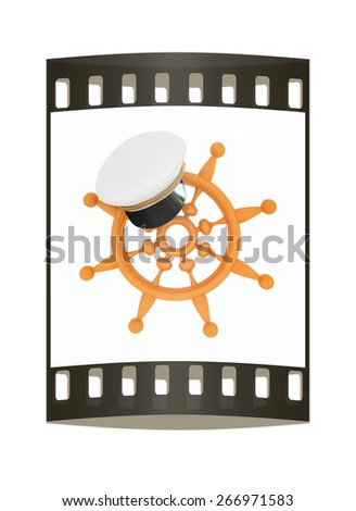 Marine cap on wood marine steering wheel on a white background. The film strip - stock photo