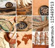 Marine collage with old compasses and maps - stock photo