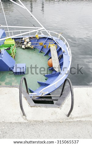 Marine dock detail of a place to tie dock and boats - stock photo