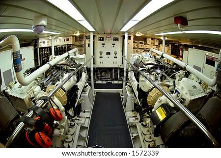 Marine Engine Room - stock photo