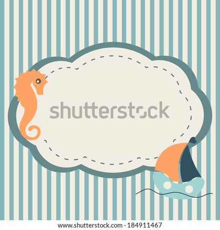 Marine frame with seahorse and boat on striped background - stock photo