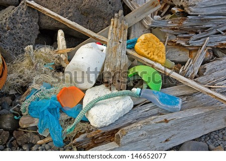 Marine garbage washed ashore in western Iceland - stock photo