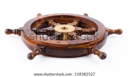 marine  helm  isolated on white - stock photo