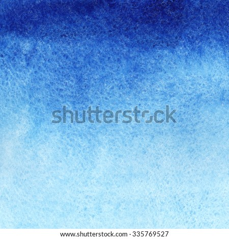 Marine or navy blue watercolor gradient fill background. Watercolour stains. Abstract painted template with paper texture. - stock photo
