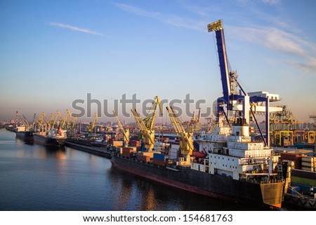 Marine port Container Terminal. Port Sant-Petersburg   - stock photo