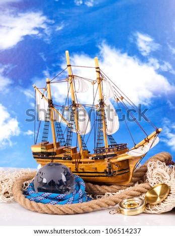 marine sailing ship statue - stock photo