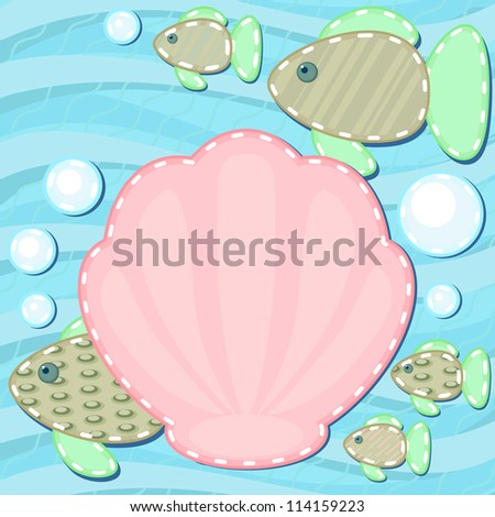 Marine scrapbook styled background with fish and shell - stock photo