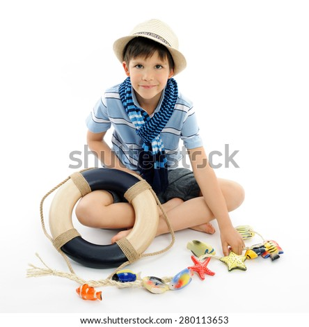 marine style portrait - stock photo