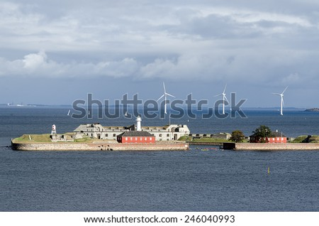 Marine wind farm in the coast of Copenhagen - stock photo