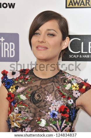 Marion Cotillard at the 18th Annual Critics' Choice Movie Awards at Barker Hanger, Santa Monica Airport. January 10, 2013  Santa Monica, CA Picture: Paul Smith - stock photo