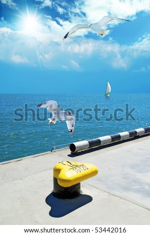 maritime boulevard and gulls - stock photo