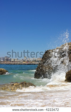 Maritime landscape with city of Portimão, Algarve, Portugal. - stock photo