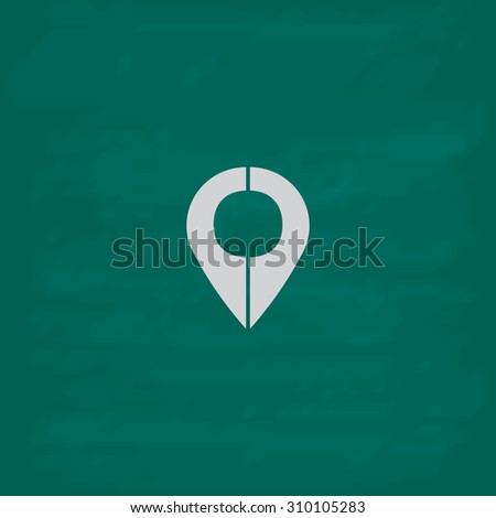 Mark pointer.  Icon. Imitation draw with white chalk on green chalkboard. Flat Pictogram and School board background. Illustration symbol - stock photo