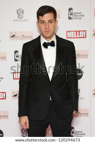 Mark Ronson arriving at the The Amy Winehouse foundation ball held at the Dorchester hotel, London. 20/11/2012 Picture by: Henry Harris - stock photo