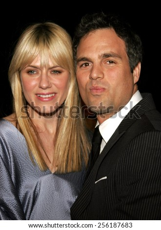 """Mark Ruffalo and wife Sunrise Coigney attend the Los Angeles Premiere of """"Zodiac"""" held at the Paramount Pictures Studios in Hollywood, California on March 1, 2007.  - stock photo"""