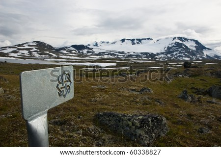 marked tourist path in Norway - stock photo