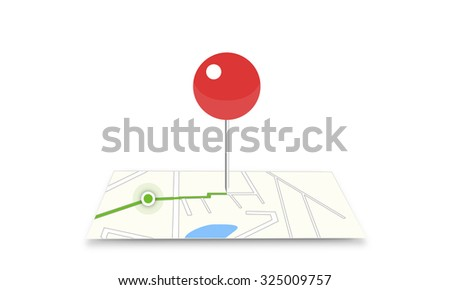 Marker on map web icon. Paper chart symbol isolated on white background. Position point gps sign. Moving to place of destination. Target geo location on electronic map. Internet navigantion. Navigator - stock photo