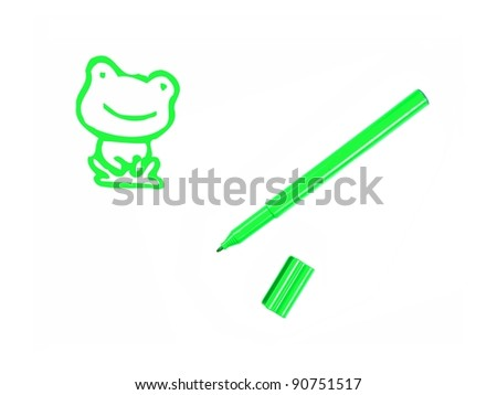 Marker pens isolated against a white background - stock photo