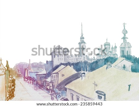 Marker street sketch with churches in skyline - stock photo