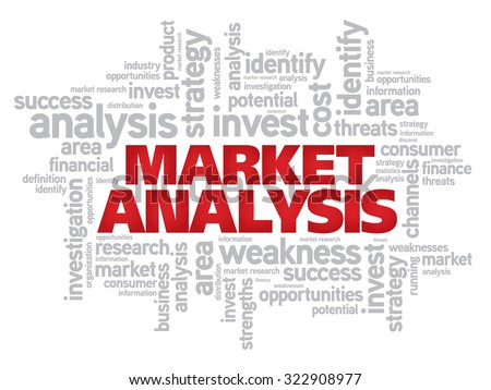 Market Analysis word cloud business concept background - stock photo