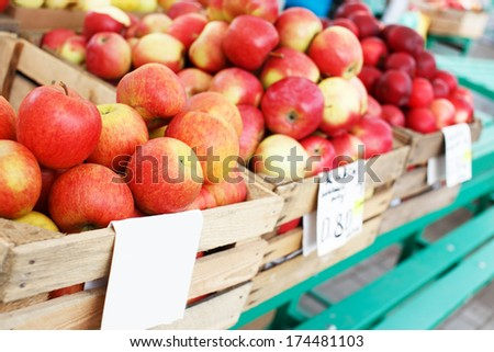 Market crates full of red healthy eco apples - stock photo
