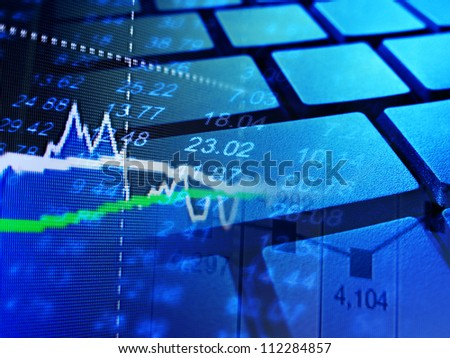 Market data and computer keyboard. Finance concept. - stock photo