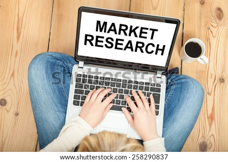 market research written on computer - stock photo