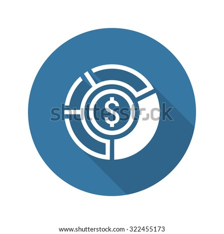 Market Share Icon. Business Concept. Flat Design. Isolated Illustration. Long Shadow. - stock photo