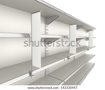market shelves with shelf-stopper. render - stock photo