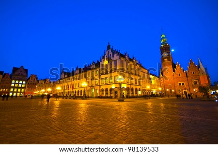 Market square and Town Hall at night. Wroclaw, Poland - stock photo