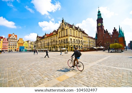 Market square tenements and City Hall in Wroclaw, Poland - stock photo