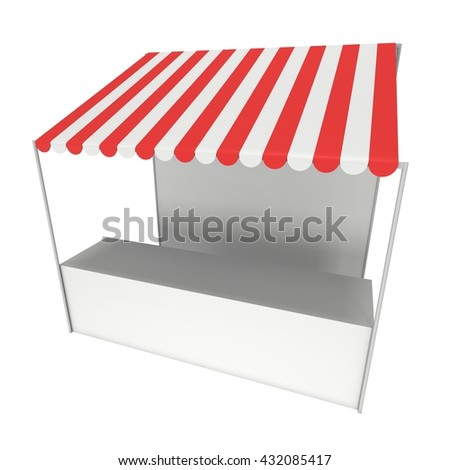 Market stand kiosk stall with striped awning for promotion sale. Shopping cart. Business store, showcase and kiosk, marketplace mobile. 3D render illustration isolated on white. - stock photo