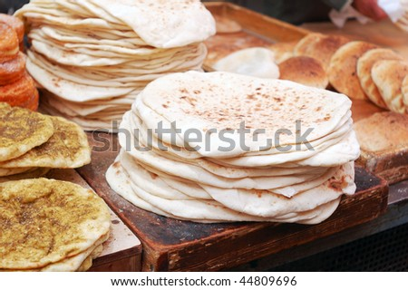 market stand of lavashes bread - stock photo