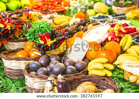 market with variety of tropical fruits in Campo di Fiori, Rome - stock photo