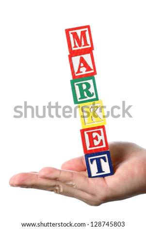 Market word on hand - stock photo