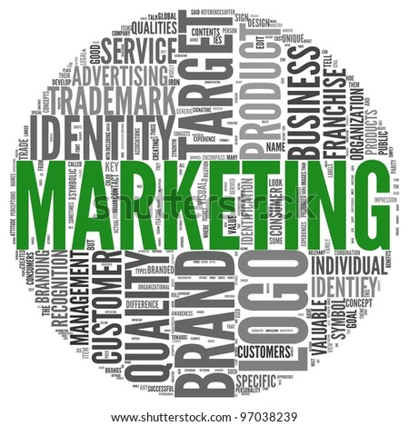 Marketing and branding concept in word tag cloud - stock photo