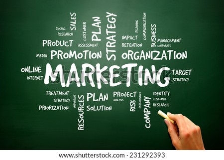 Marketing business concept on blackboard, presentation background - stock photo