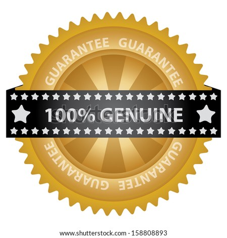 Marketing Campaign, Promotion or Business Concept Present By Golden Glossy Badge With 100 Percent Genuine Label With Guarantee Text Around Isolated on White Background  - stock photo