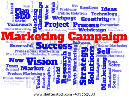 Marketing campaign word cloud - stock photo