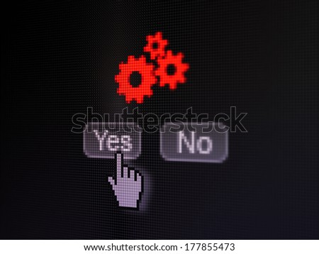 Marketing concept: buttons yes and no with pixelated Gears icon and Hand cursor on digital computer screen, selected focus 3d render - stock photo