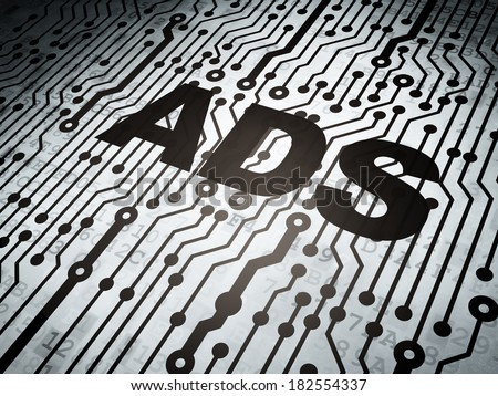 Marketing concept: circuit board with  word Ads, 3d render - stock photo