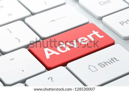 Marketing concept: computer keyboard with word Advert, selected focus on enter button, 3d render - stock photo
