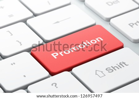 Marketing concept: computer keyboard with word Promotion, selected focus on enter button, 3d render - stock photo