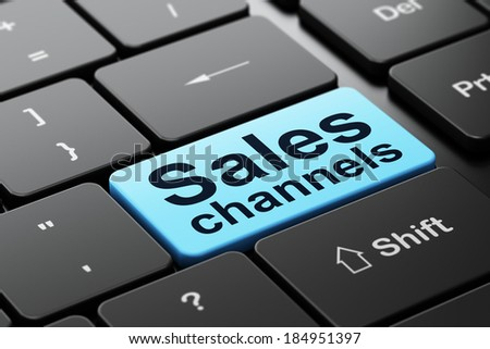 Marketing concept: computer keyboard with word Sales Channels, selected focus on enter button background, 3d render - stock photo