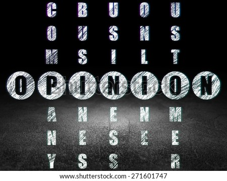 Marketing concept: Glowing word Opinion in solving Crossword Puzzle in grunge dark room with Dirty Floor, black background, 3d render - stock photo