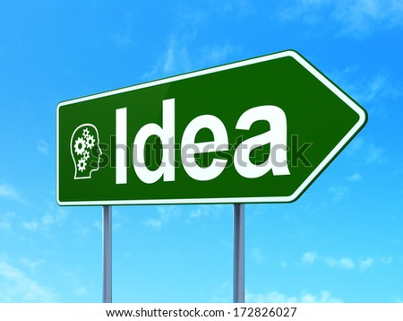 Marketing concept: Idea and Head With Gears icon on green road (highway) sign, clear blue sky background, 3d render - stock photo