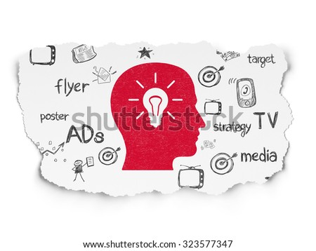Marketing concept: Painted red Head With Light Bulb icon on Torn Paper background with  Hand Drawn Marketing Icons - stock photo