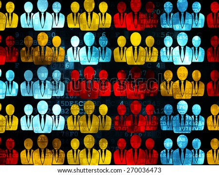 Marketing concept: Pixelated multicolor Business People icons on Digital background, 3d render - stock photo