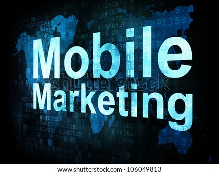 Marketing concept: pixelated words Mobile Marketing on digital screen, 3d render - stock photo